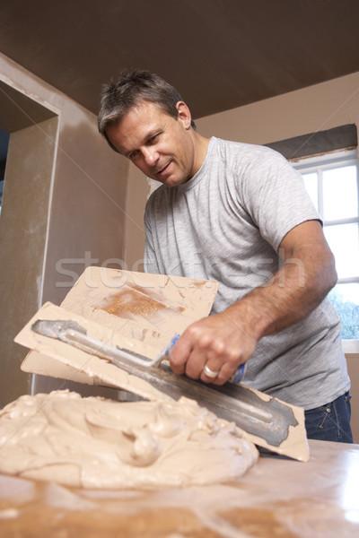 ストックフォト: 石膏 · 家 · 建物 · 男 · 壁 · 作業