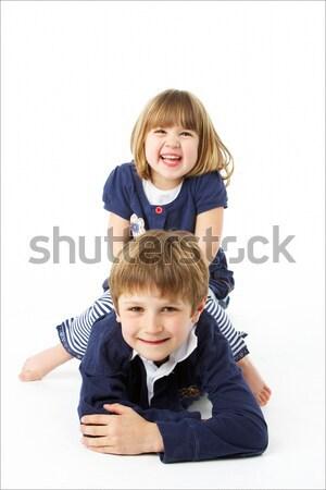 Estudio retrato feliz hermano hermana ninos Foto stock © monkey_business