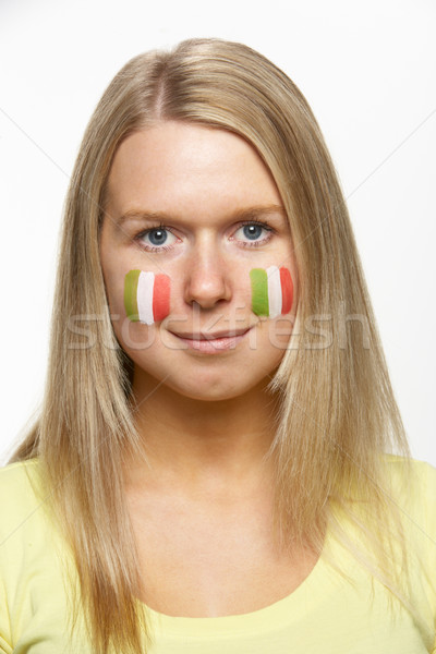 Young Female Sports Fan With Italian Flag Painted On Face Stock photo © monkey_business