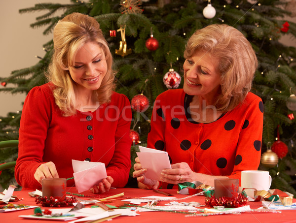 Stock photo: Women Making Christmas Cards At Home