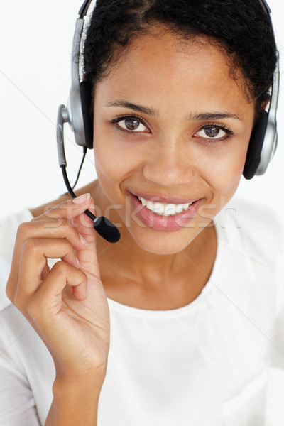 Call center exploitant business vrouw hand telefoon Stockfoto © monkey_business