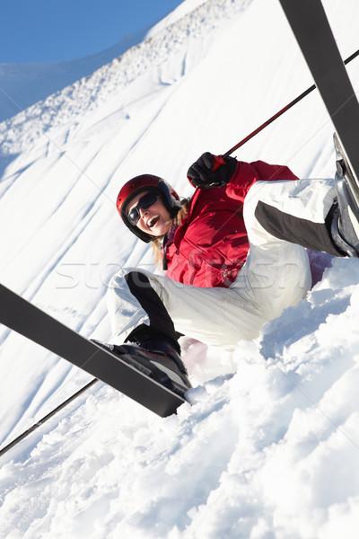 женщины лыжник сидят снега осень счастливым Сток-фото © monkey_business