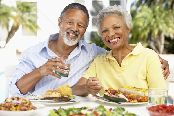 Stockfoto: Paar · eten · maaltijd · voedsel · tuin