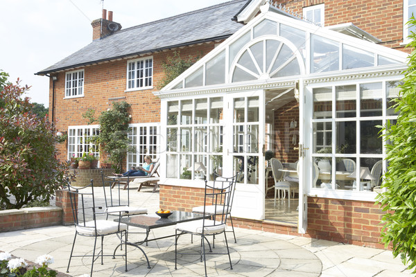 Exterior Of House With Conservatory And Patio Stock photo © monkey_business