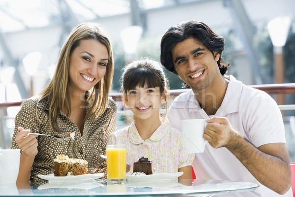 Aile kafe bakıyor kız çocuk Stok fotoğraf © monkey_business