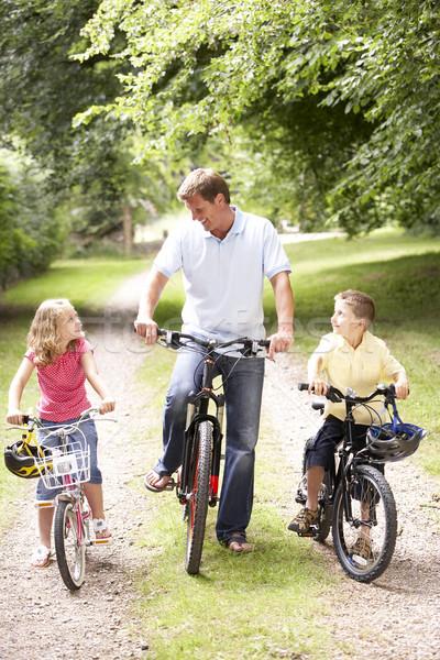ストックフォト: 父 · 子供 · ライディング · バイク · 幸せ