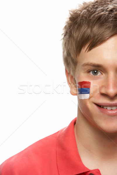 Young Male Sports Fan With Serbian Flag Painted On Face Stock photo © monkey_business