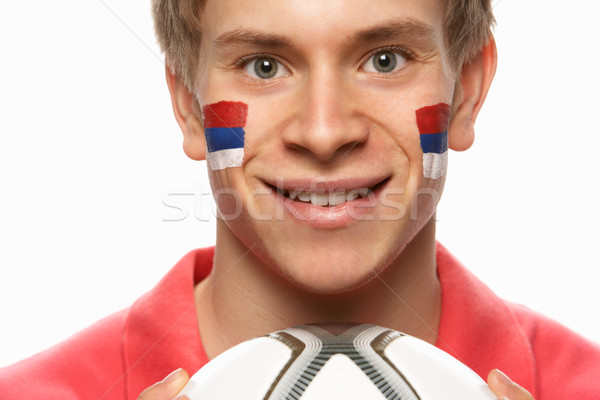 Young Male Football Fan With Serbian Flag Painted On Face Stock photo © monkey_business