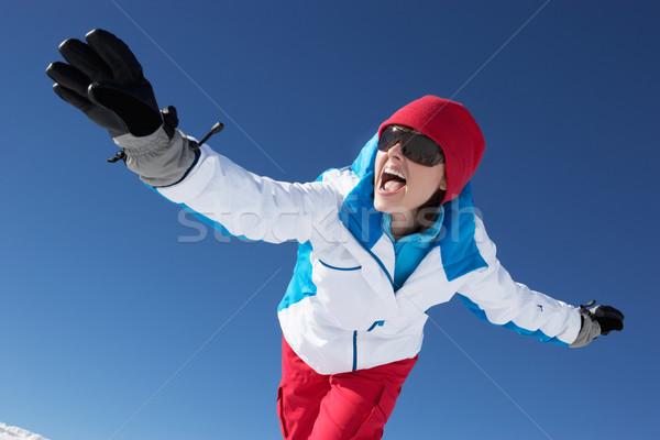 Mulher esquiar férias montanhas mulheres Foto stock © monkey_business