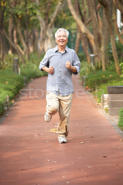 Stockfoto: Senior · chinese · man · jogging · park · mannen