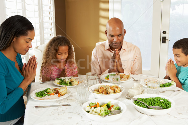Family Saying Grace Before Meal At Home Stock photo © monkey_business