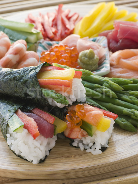 Seafood and Vegetable Hand Rolled Sushi Stock photo © monkey_business