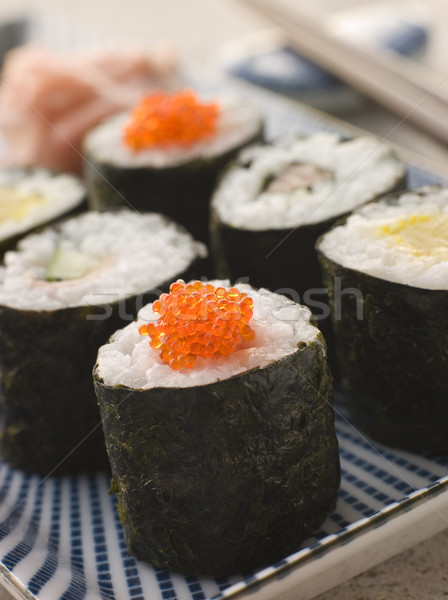 Small Rolled Sushi on a Plate Stock photo © monkey_business