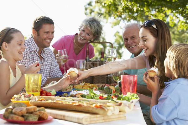 Stockfoto: Familie · dining · kinderen · vrouwen · moeder