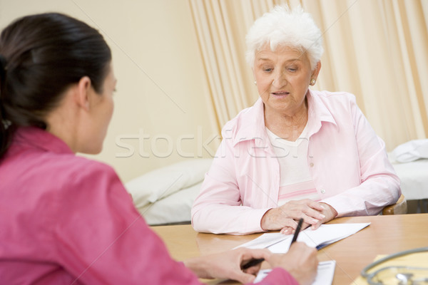 Woman in doctor's office frowning Stock photo © monkey_business