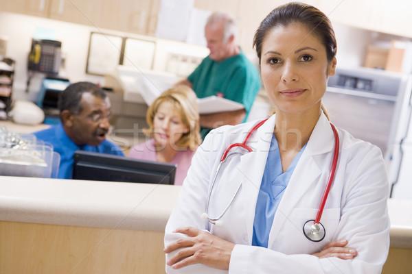 Zdjęcia stock: Lekarzy · recepcji · szpitala · kobieta · człowiek
