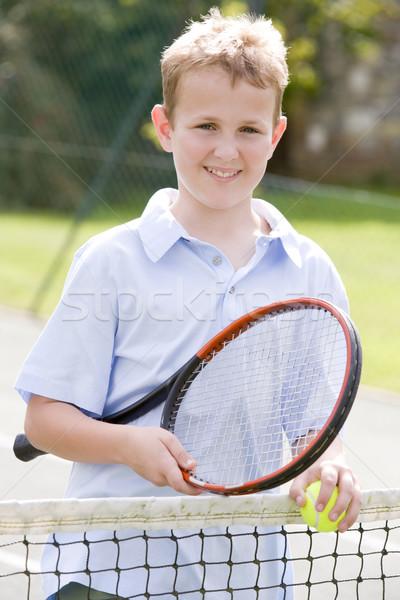 Zdjęcia stock: Młody · chłopak · kort · tenisowy · uśmiechnięty · dzieci · sportu