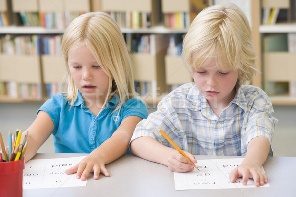 Kindergarten children learning to write Stock photo © monkey_business