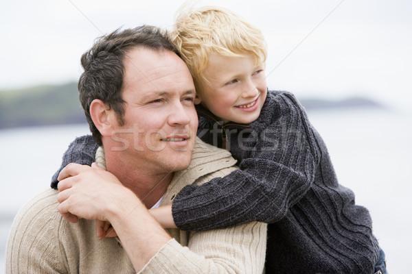 Сток-фото: отцом · сына · пляж · улыбаясь · любви · ребенка · морем