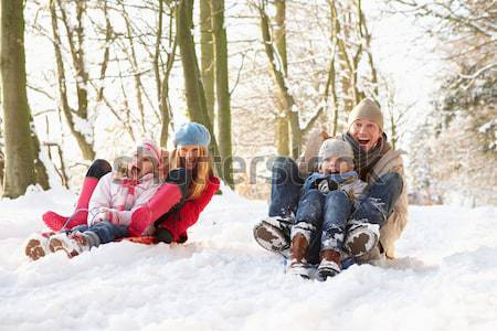 Young Family Standing In Snowy Landscape Holding Sledge Stock photo © monkey_business