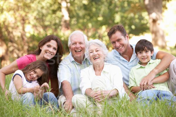 Portret uitgebreide familie groep park meisje tuin Stockfoto © monkey_business