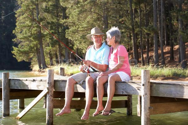 Stock photo: Senior couple fishing