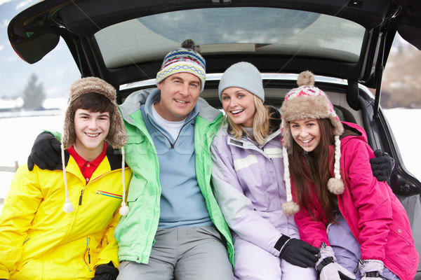 Teenage Family Sitting In Boot Of Car Wearing Winter Clothes Stock photo © monkey_business