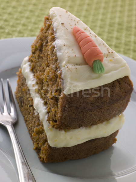 Plakje amerikaanse carrot cake plaat vork voedsel Stockfoto © monkey_business