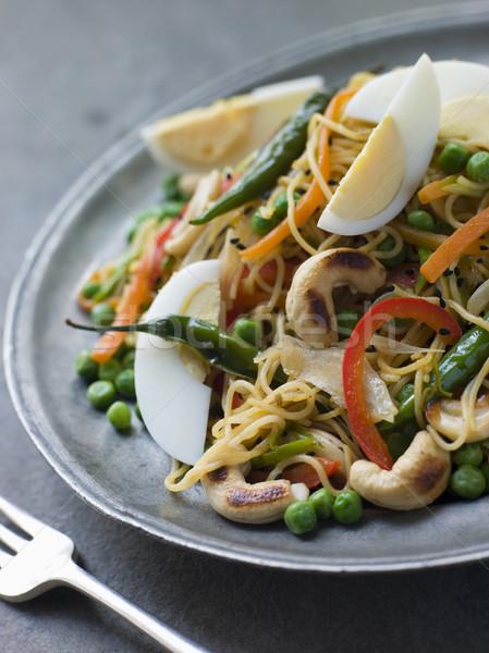 Felszolgált tányér villa tojások belső saláta Stock fotó © monkey_business