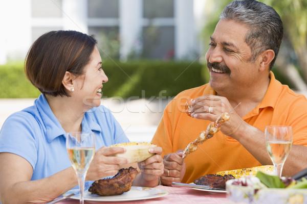 Stockfoto: Paar · genieten · maaltijd · tuin · voedsel · home