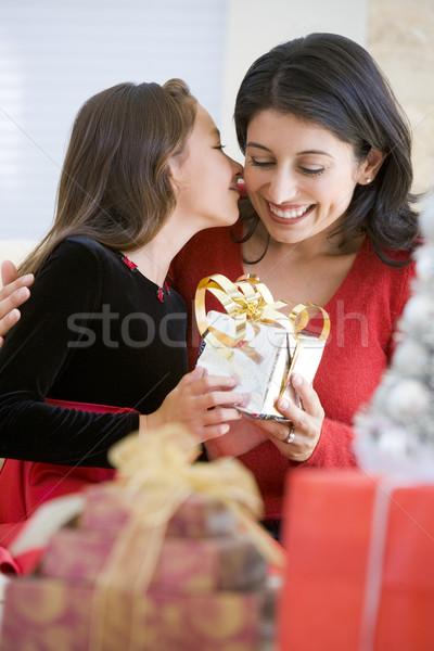 Lány meglepő anya karácsony ajándék nő Stock fotó © monkey_business