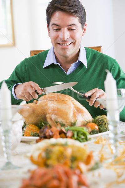 Foto stock: Homem · Turquia · feliz · prato · faca · alimentação