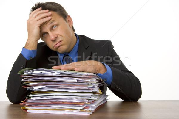 Geschäftsmann überwältigt Papierkram Schreibtisch Dateien Studio Stock foto © monkey_business