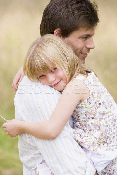 Stockfoto: Vader · dochter · buitenshuis · glimlachend · kind