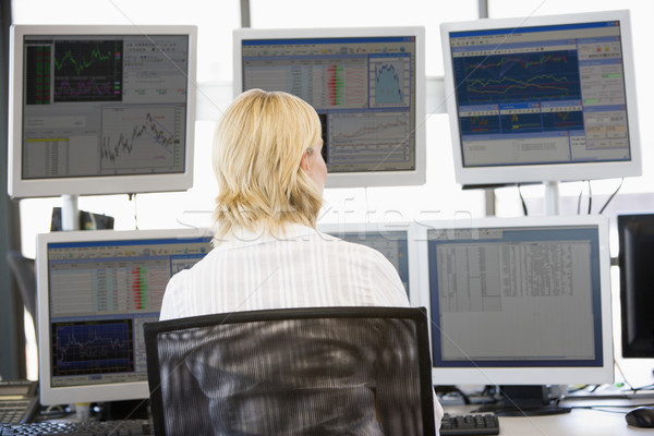 Stock Trader Looking At Multiple Monitors Stock photo © monkey_business