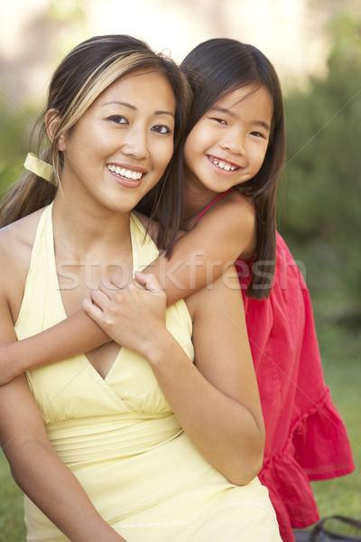 Stockfoto: Moeder · dochter · tuin · vrouw · meisje