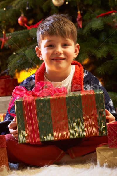 Stockfoto: Opening · christmas · aanwezig · boom · gelukkig