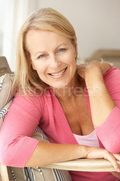 Idős nő otthon szék női személy Stock fotó © monkey_business