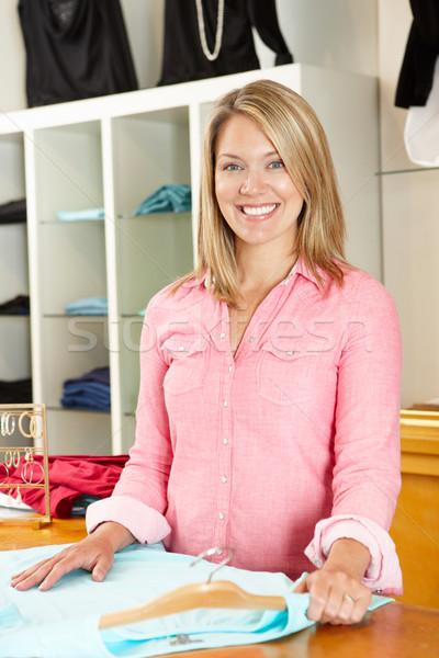 Frau arbeiten Mode Laden Business glücklich Stock foto © monkey_business