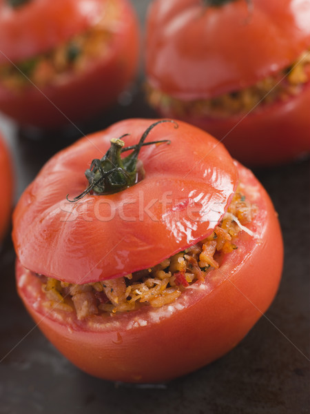 Stuffed Beef Tomato on a Baking Sheet Stock photo © monkey_business
