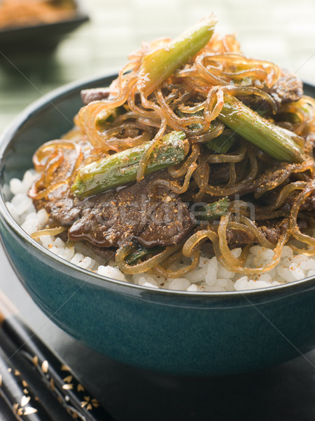 Sweet Soy Beef Fillet With Shirakaki Noodles on Rice with Shichi Stock photo © monkey_business