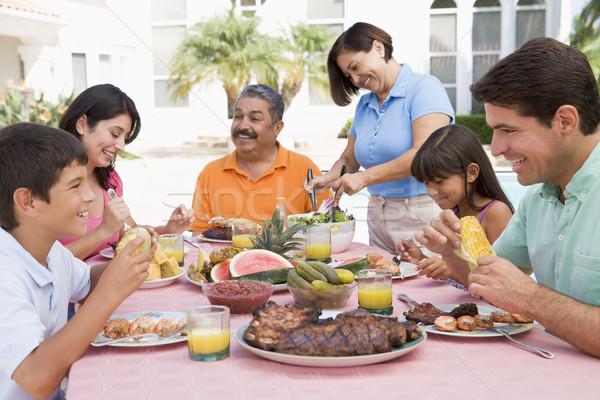 Família churrasco mulher casa comida Foto stock © monkey_business