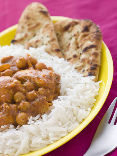 Chicken and Chickpea Curry with Rice and Naan Bread Stock photo © monkey_business