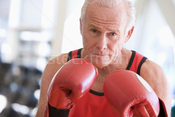 Stok fotoğraf: Adam · boks · spor · salonu · sağlık · portre · erkek