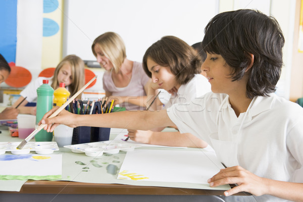 Stock foto: Schulkinder · Lehrer · Kunst · Klasse · Frau · Kinder