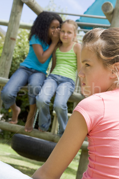 Two young girl friends at a playground whispering about other gi Stock photo © monkey_business
