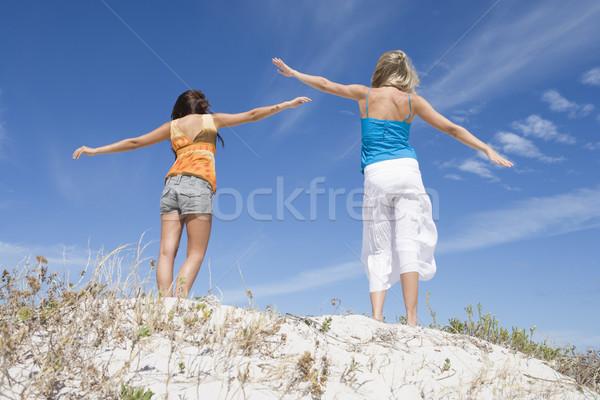 Zwei weiblichen Freunde entspannenden Strand blauer Himmel Stock foto © monkey_business