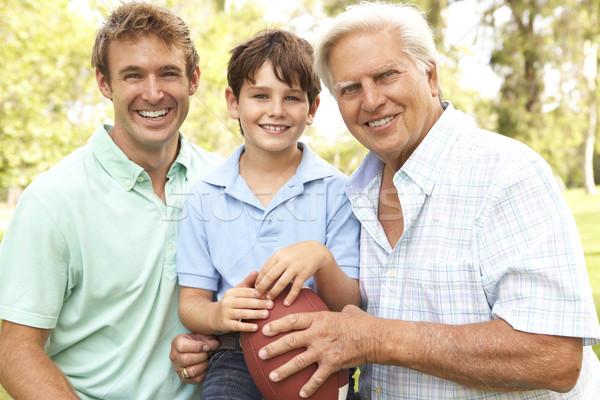 ストックフォト: 祖父 · 父から息子 · 演奏 · アメリカン · サッカー · 家族