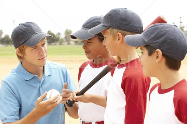 Stok fotoğraf: Genç · erkek · beysbol · takım · koç · çocuklar