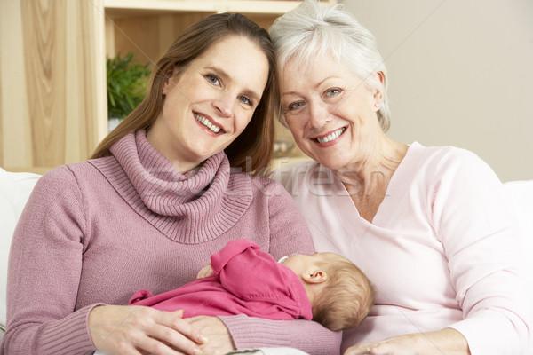 Portré nagymama anya lánygyermek otthon nő Stock fotó © monkey_business